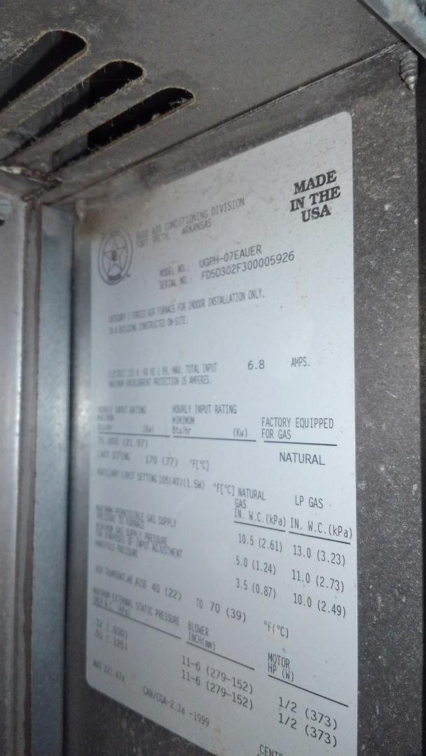 Eunice, LA - Preventative maintenance on a RUUD gas furnace.
