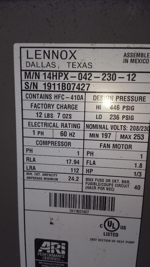 Ville Platte, LA - Preventative maintenance on a Lennox heat pump.