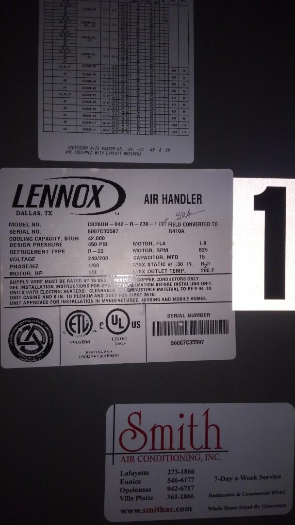 Ville Platte, LA - Preventative maintenance on 2 Lennox electric air handlers.