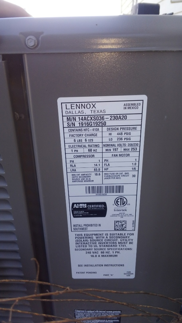 Basile, LA - Preventative maintenance on a Lennox electric air handler.