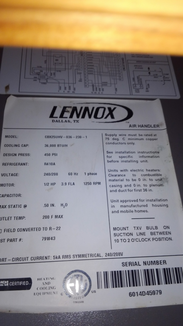 Mamou, LA - Preventative maintenance and leak search on a Lennox electric air handler.