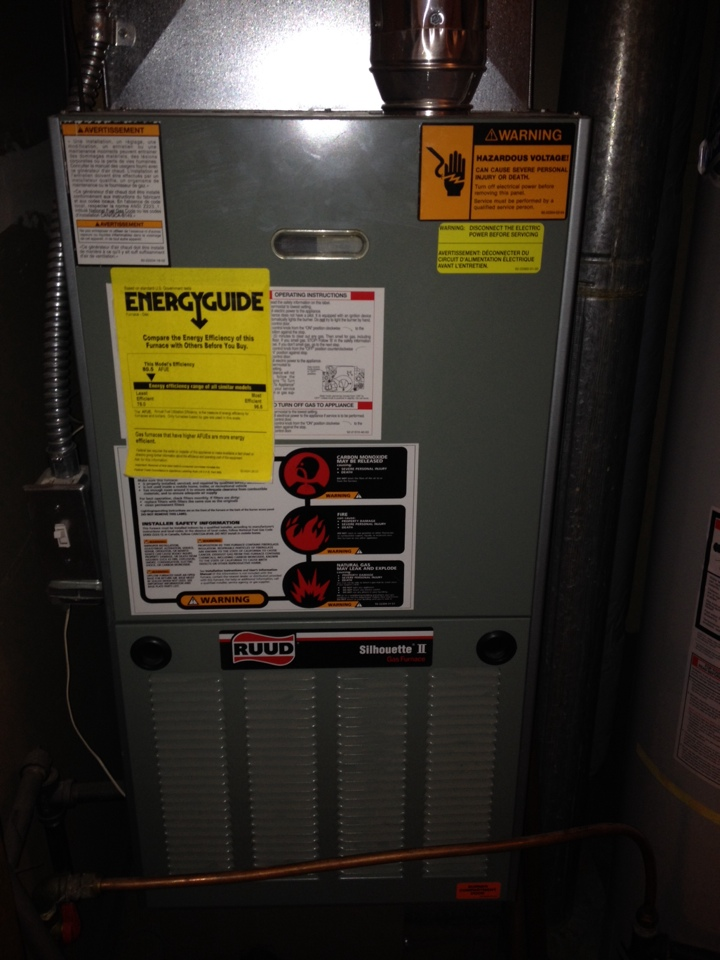 Coon Rapids, MN - Service on a Ruud furnace.  Inducer making noise.