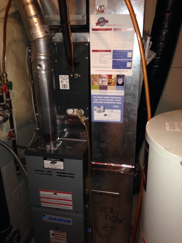 Ramsey, MN - Install Daikin furnace and low level CO monitor