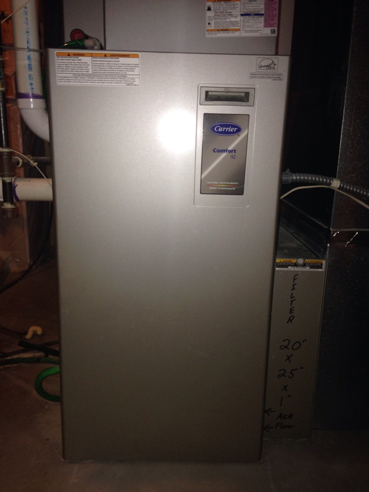 Prior Lake, MN - Heating tuneup on a Carrier 90% efficient furnace.