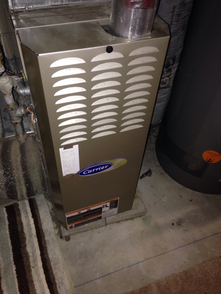 Heating tuneup on a Carrier 80% efficient furnace.