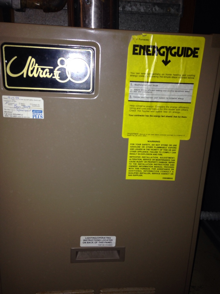 Maple Grove, MN - Service on an Armstrong furnace, replaced pressure switch.