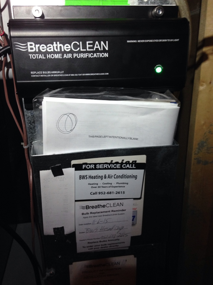 Chanhassen, MN - Heating Maintenance and Furnace Tune up, Installing a Breatheclean UV light, total home air purification system.