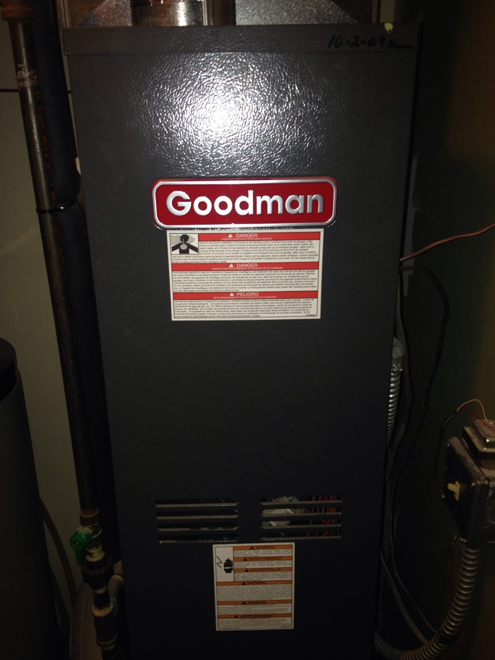 Vadnais Heights, MN - Service on a Goodman furnace.