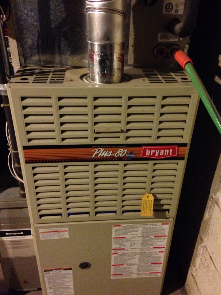 Hopkins, MN - Service on a Bryant furnace, cleaned flame sensor.
