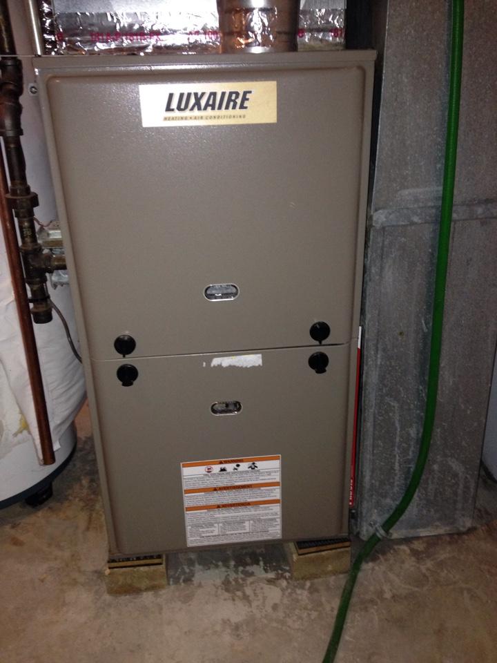 Saint Paul, MN - Maintenance on a Luxaire furnace.