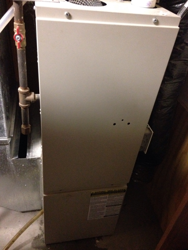Big Lake, MN - Service on a Nordyne furnace, replacing drain trap.