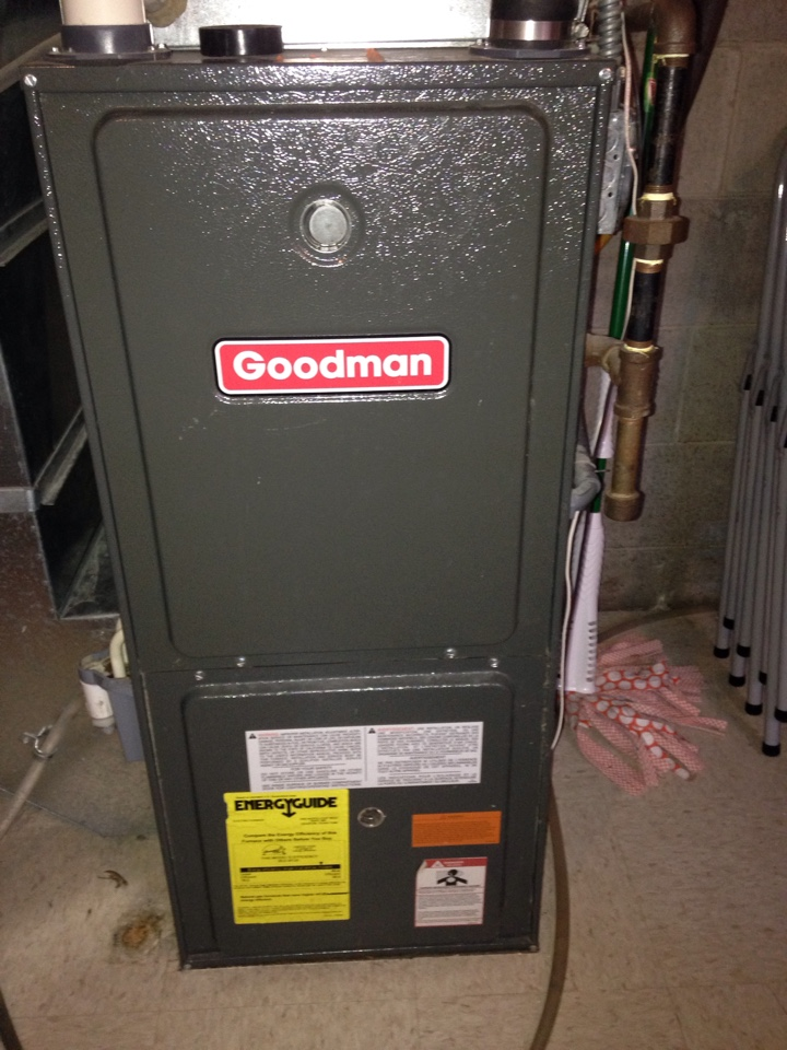 Heating repair on a Goodman 90% efficient furnace. Cleaning a dirty flame sensor.