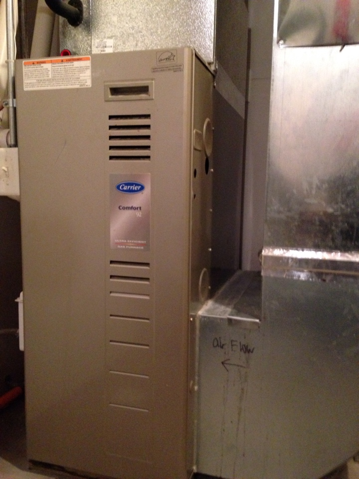 Plymouth, MN - Installed new blower motor and capacitor in height efficiency Carrier furnace.