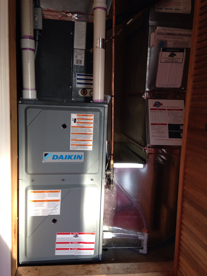 Minnetonka, MN - New Daikin high efficiency furnace and AC.