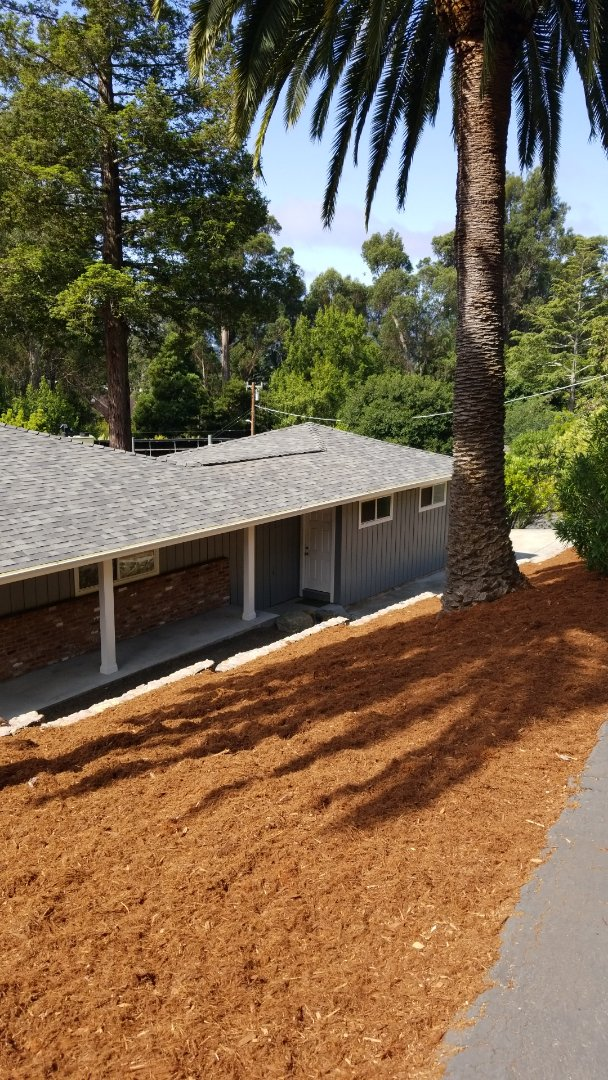 San Rafael, CA - New Malarkey Vista polymer shingle with ice and water Shield leak barrier system synthetic heavy duty underlayment 10 in Easy Ridge fascia gutters make this sand Dominican property beautiful
