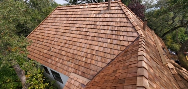 Kentfield, CA - Beautiful Shake Roof in Kentfield.  Old world roof style and quality workmanship.