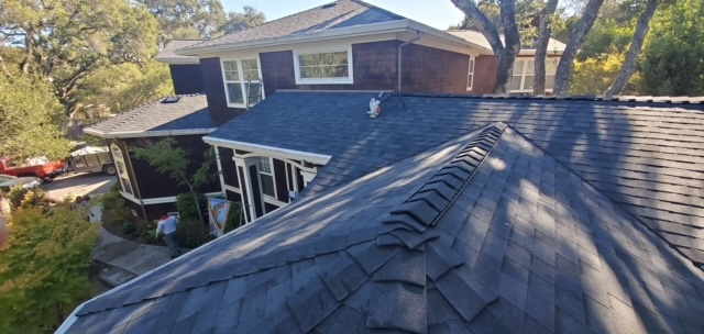 Novato, CA - Malarkey NEX roofing shingles in house in Novato, CA.  Great roof ridgeline and ridge venting.