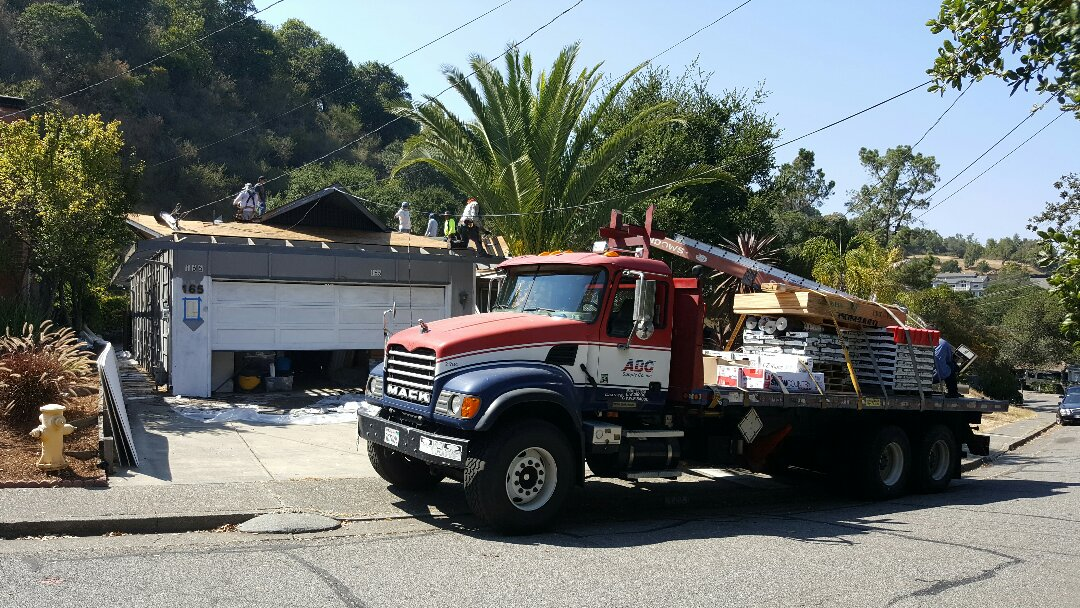 Novato, CA - In progress re-roof on Irwin Street in San Rafael