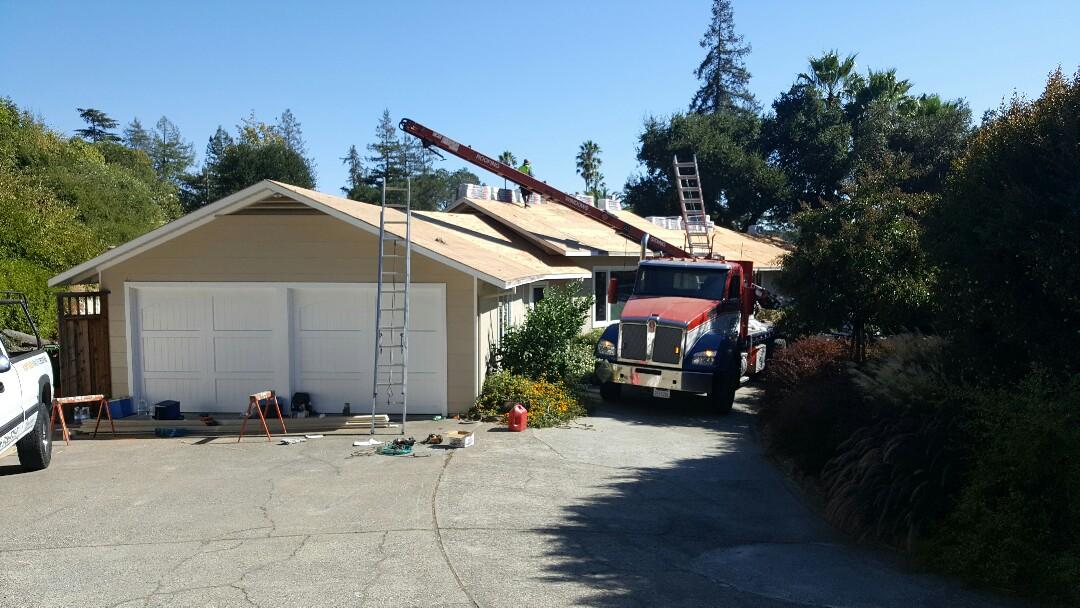 San Rafael, CA - Re-roof GAF HD Timberline composition Reflector Series on Fairhills Drive in San Rafael. Color Sagewood.