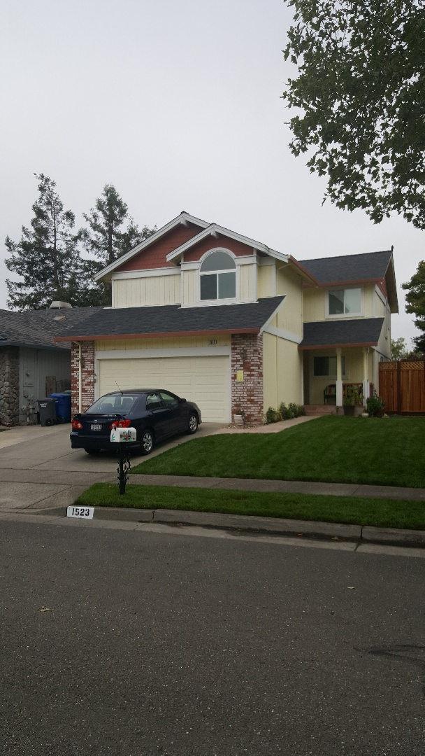 Petaluma, CA - New malarkey Highlander midnight black shingles with Arctic seal leak barrier system secure start synthetic underlayment and Snow Country ridge vent make this home a gem