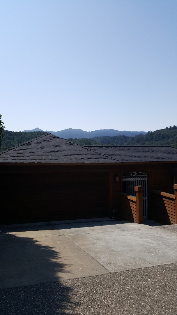 Fairfax, CA - Beautiful new Malarkey Legacy polymer shingle with Malarkey EZ Ridge heavy duty Black Oak color with Arctic seal and secure start synthetic underlayment on this beautiful Mount Tamalpais viewed Fairfax home