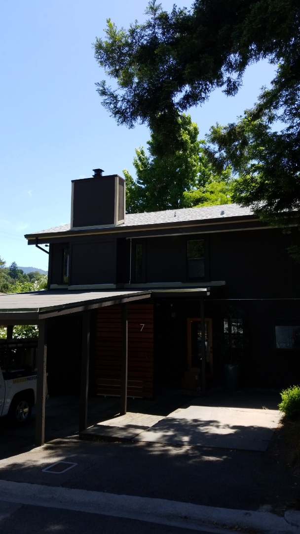 Fairfax, CA -  new Malarkey energy saver Doug white singles with v in insulation rigid new fascia gutters New modified bituminous roof surface on flat Arctic seal ice and water Shield protectant