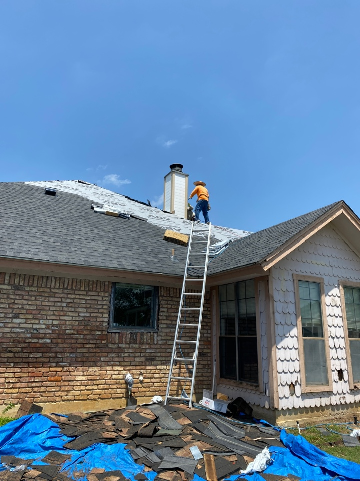 Colleyville, TX - On this house we had to redo the chimney because it was completely rotted through… New roof new gutters new siding new chimney glad