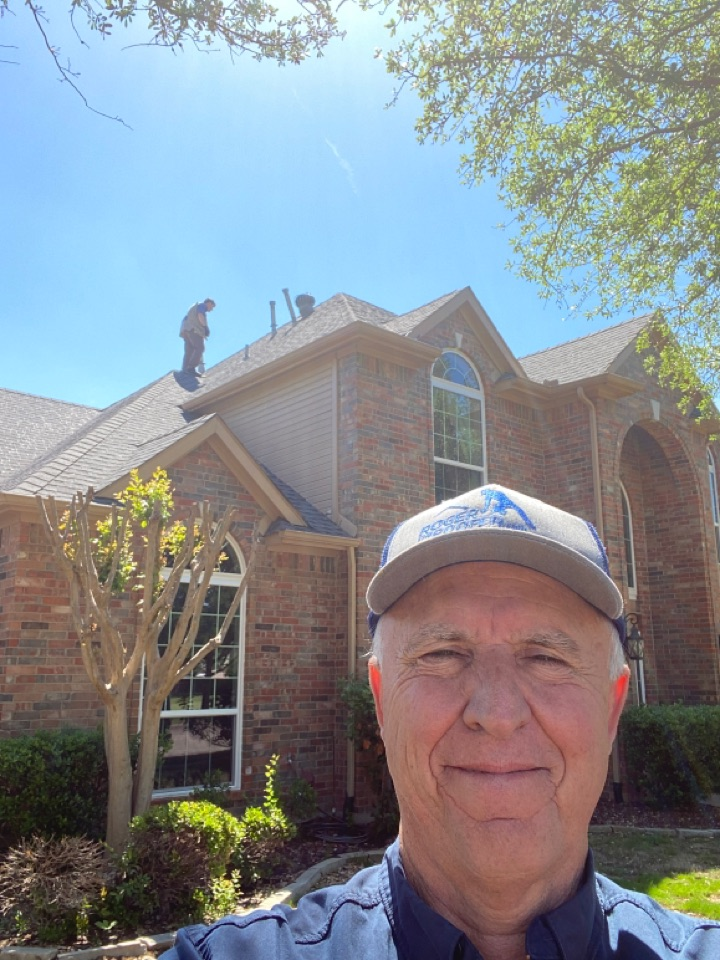 Southlake, TX - Adjuster meeting, adjuster is looking at the shingles and he's looking at the gutters and all the hard metal… We'll keep our fingers crossed this one gets approved