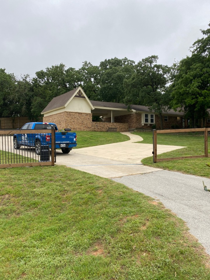 Keller, TX - This is a referral, lots of damage from the previous storm will be changing the gutters the roof all the metal and taking care of some soffit damage and some ventilation adjustments… Got a love the roofing business