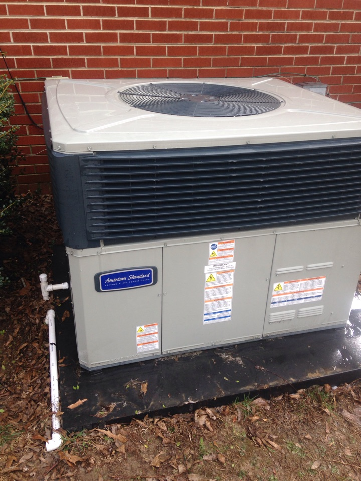 Lawrenceburg, TN - Performing maintenance on an American Standard Package Heat Pump