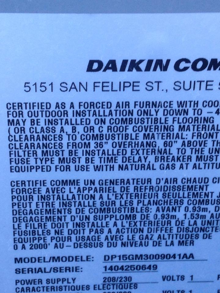 Loretto, TN - Maintenance  ESA  same unit think you wanted pic of  Daikin Info