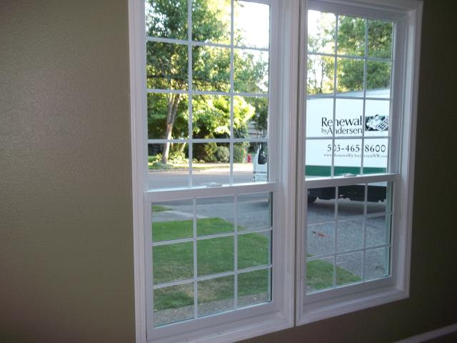 Tualatin, OR - Two of the five double hung windows. white on white.