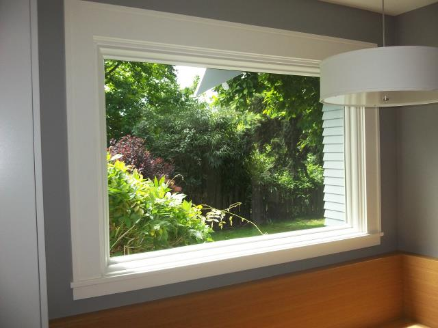 Milwaukie, OR - One large picture window. Retro. White, white. Replacing a big penguin window that wasn't installed properly.