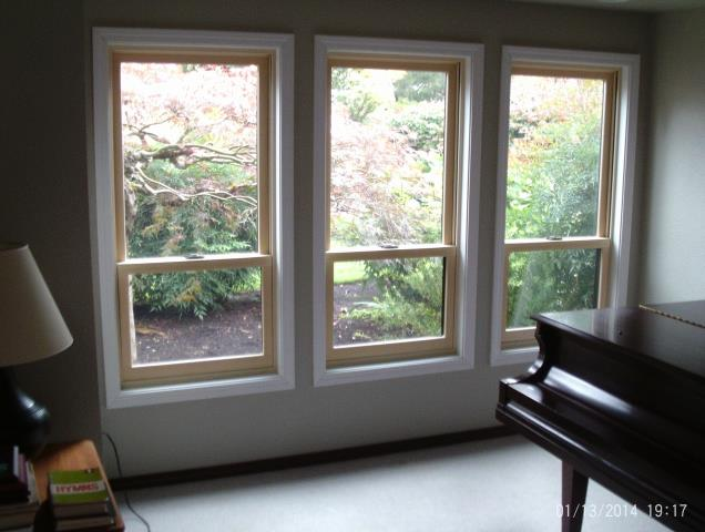 Lake Oswego, OR - 7 windows replaced cutback standards (ext trim pre-painted to match other phases we've done). Dark Bronze ext on all. Living and Dining room are pine interior, basement are oak interior.