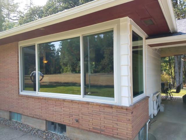 Dallas, OR - Replacing original aluminum windows. Two windows with white/white standard hardware.