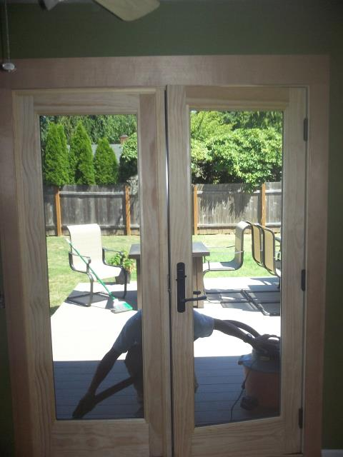 Vancouver, WA - We installed a replacement frenchwood patio door with a interior pine finish for this beautiful home in Vancouver.