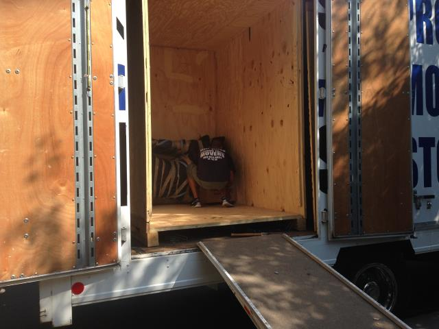 Ashburn, VA - Our Guys loading storage vaults to bring back to our warehouse today.