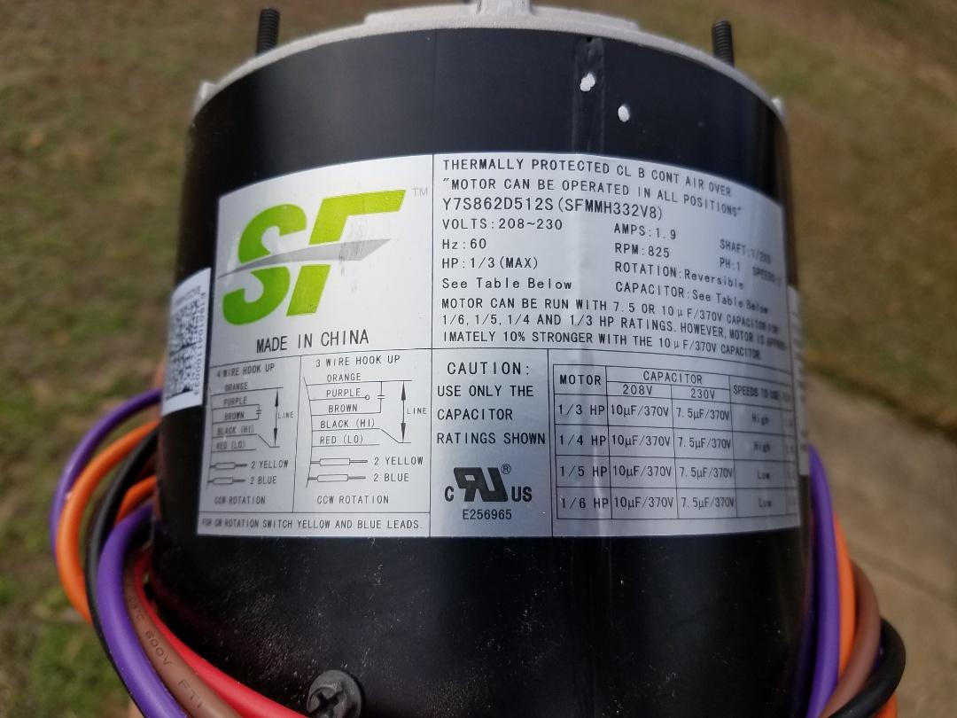 Installed new condenser fan motor