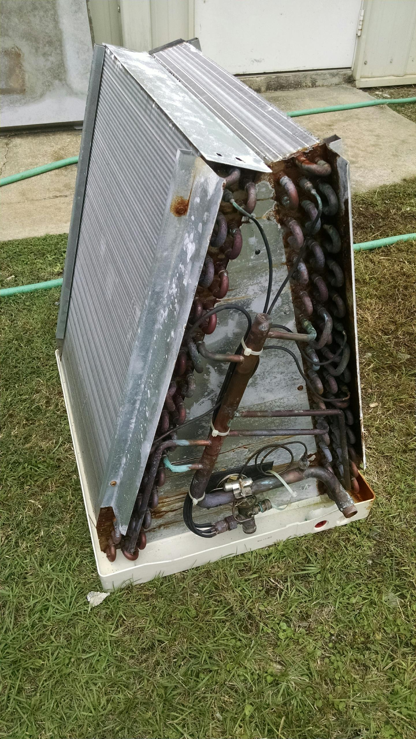 Replace leaking evaporator coil on heat pump air conditioner 410a