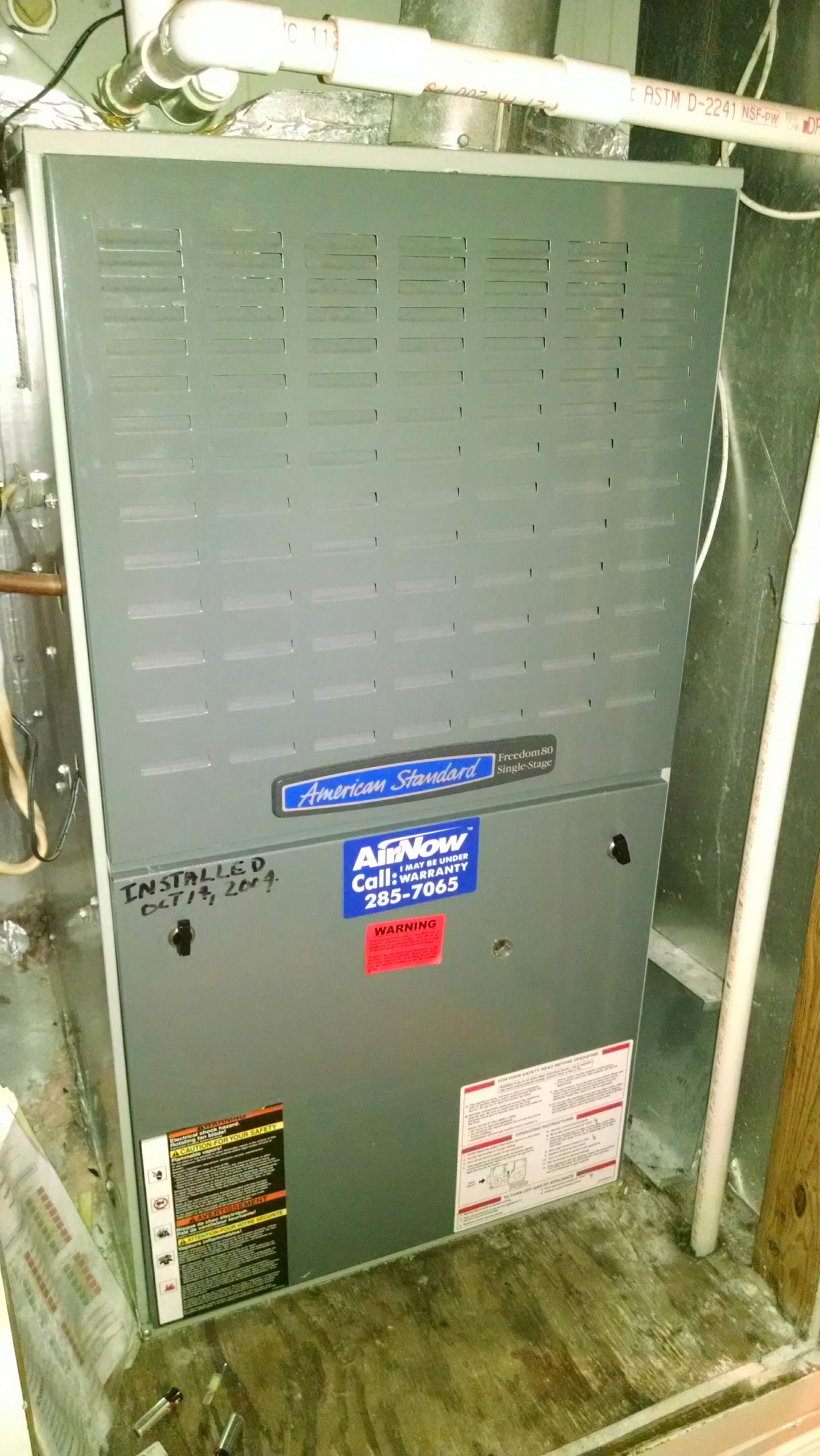 Montgomery, AL - Fall inspection on 13 yr old American Standard furnace.