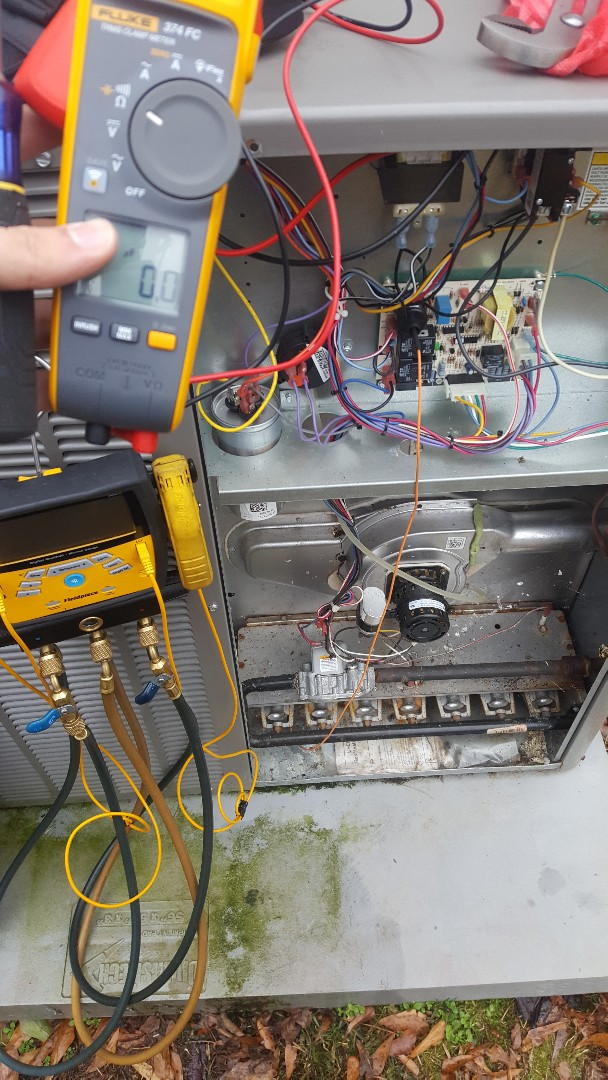 Working on a lennox package unit