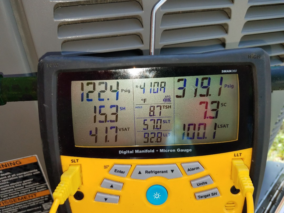 Montgomery, AL - Checking refrigerant levels on Lennox air conditioning maintenance in Montgomery