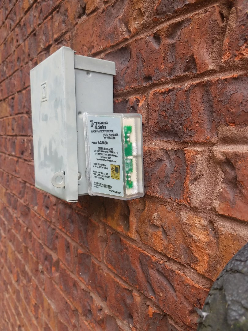Installed surge protector