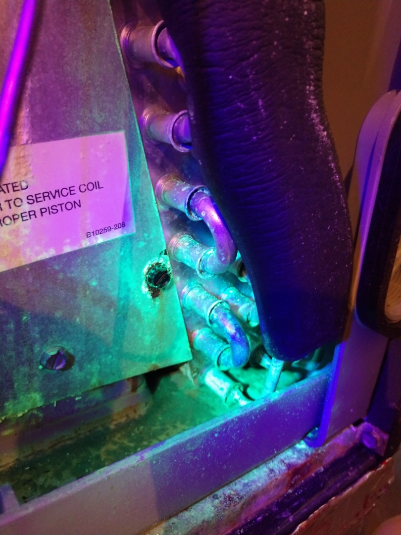 Pike Road, AL - Winter heating inspection on 6yr old Goodman heat pump. Leaking evaporator coil identified with UV dye and confirmed with leak detector.