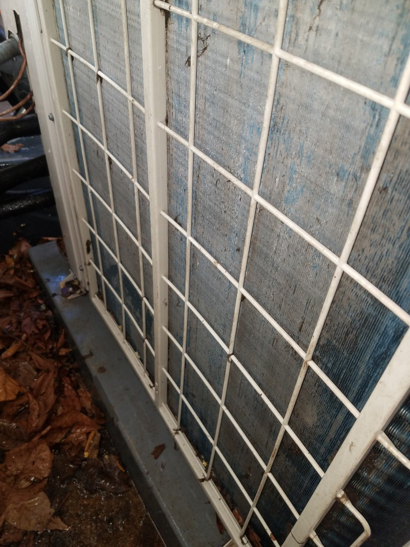 Other angle of cleaned outdoor Daikin coil. (Some sections are stained)