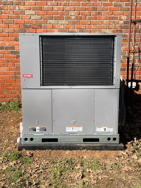 Bowling Green, KY - Homeowner's 10 year old Heil package heat pump unit had a refrigerant leak on the reversing valve, upgraded to a new Bryant package heat pump unit.  New HVAC unit ready for Spring 2021.