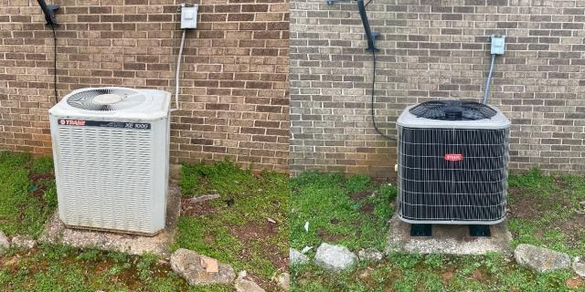 Bowling Green, KY - Replaced 26 year old Trane Heat Pump with a new Bryant Heat Pump.  The old Trane Heat Pump had a bad compressor.  Replacement of the system is the better option at that age, better energy efficiency and a long warranty.  Near Plano, KY.