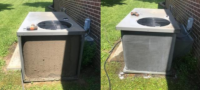 Bowling Green, KY - Spring Cleaning 2021, Air Conditioners and Heat Pumps.  Whether the air conditioner or heat pump is a package unit or split system, all of them need a good cleaning regularly.  If they don't get cleaned they end up looking like the one on the left.  Air Conditioners and Heat Pumps cool better and more efficiently when they are clean.  Call today for a cleaning and don't forget to ask about ComfortPASS® - Gra-Tac Heating and Cooling 270-843-1514 air conditioning Bowling Green, KY since 1976.