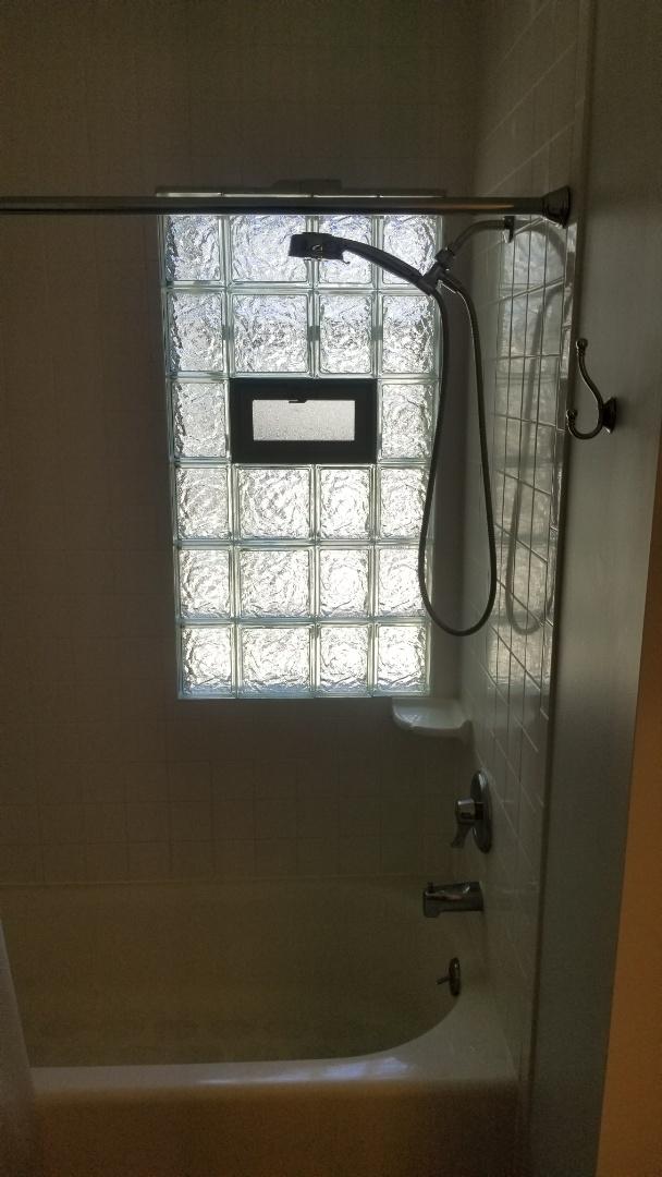 Install new glass block window in 2nd floor bathroom