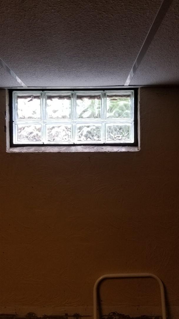 Kalamazoo, MI - Installation of glass block windows in basement